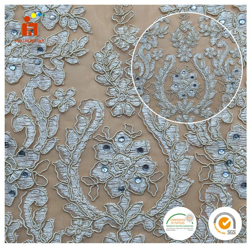 100% Polyester Rhinestone Embroidery Lace Fabric Wholesaler High Quality Indian George Fabric