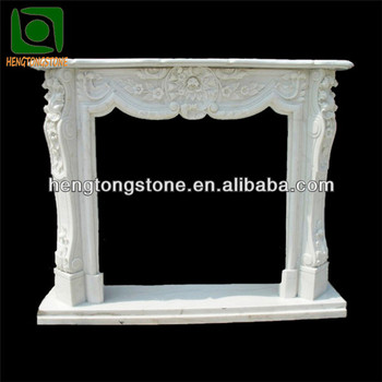 Hand Carved White Marble French Style Fireplace Surround