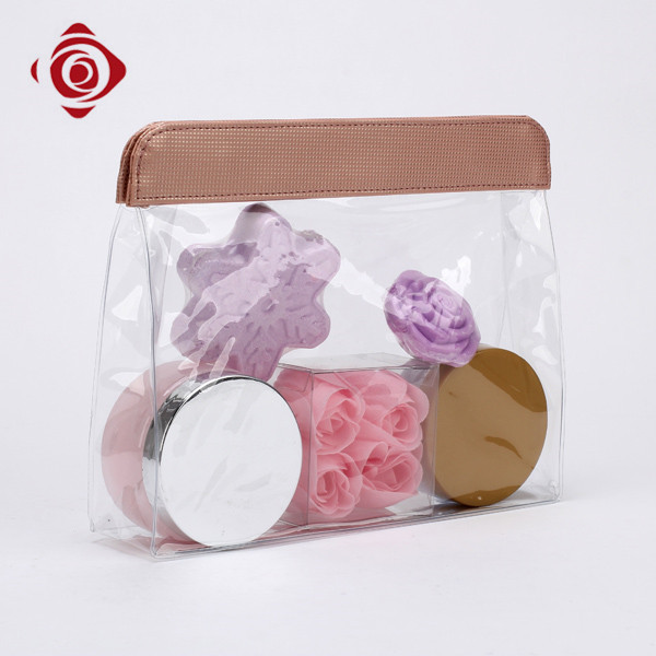 Clear waterproof travel toiletry pouch custom wuhua cosmetic bag