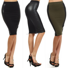 Black Faux Leather Pencil Skirt New Women Sexy High Waist Plus Size knee length skirt