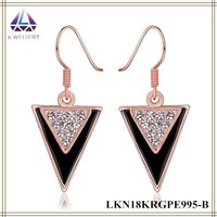 Beautiful Special Design Rose Gold Plated Double Triangle Hanging Dangle Earrings For Women