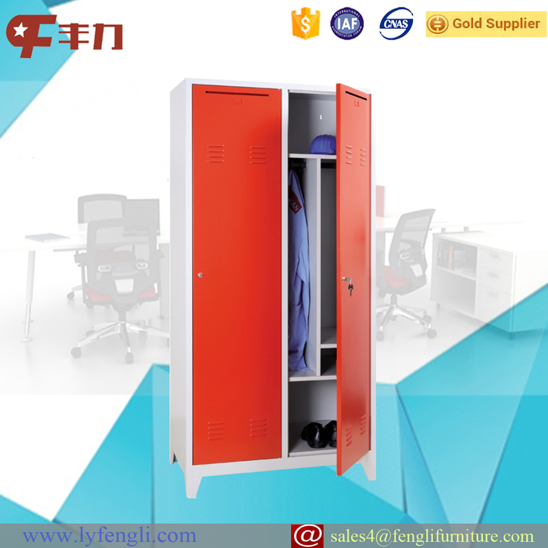 Red Color Office Locker Wardrobe Design 2 Door Steel Locker