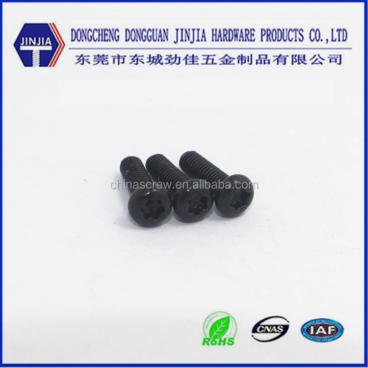 Custom M3x10 Metric machine thread torx head black anodized screws