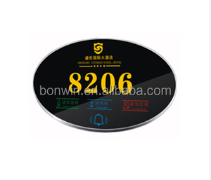 hotel guest digital door room name plate with low voltage control switch