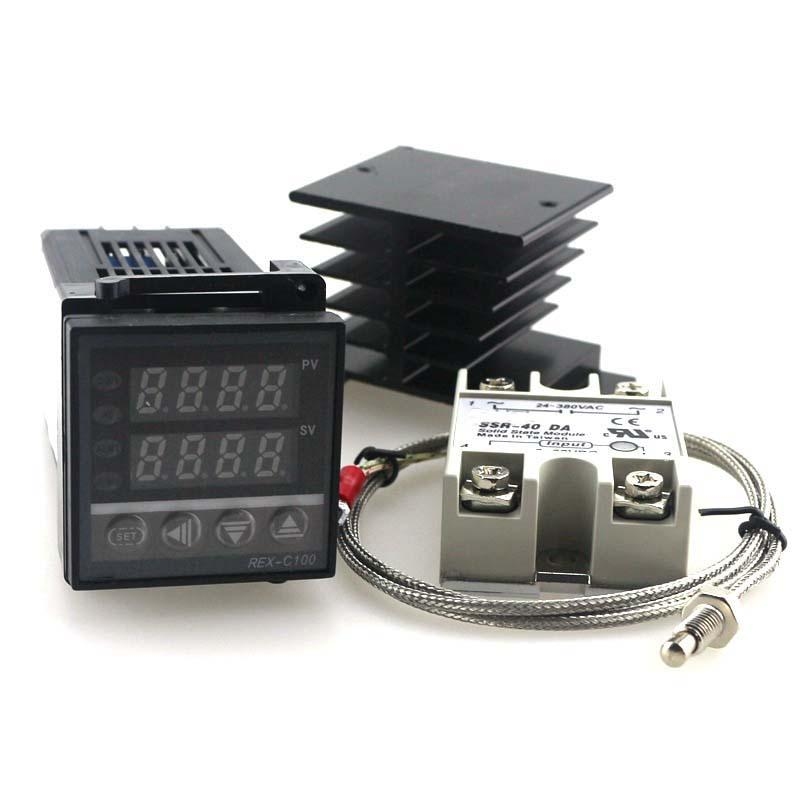 Dual Digital PID Temperature Controller Kit REX-<strong>C100</strong> with SSR-40DA + heat sink + 2m <strong>quality</strong> K probe free DHL