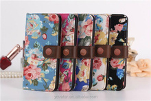 Chinese fashion flower pattern wallet PU leather case for new Apple iphone 6 with ID card slot and interlayer