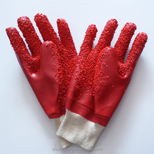 26 CM KNIT WRIST PVC FULLY COATED WITH DOTS GAUNTLET GLOVE WITH 100%COTTON LINNER(ACID RESISTANCE GLOVES)