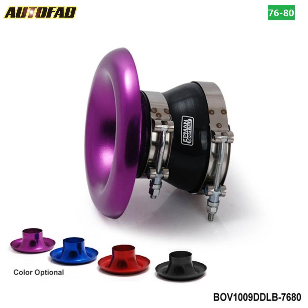 AUTOFAB - Purple Velocity Stack Aluminum Ram Air <strong>Intake</strong> Composite With Clamps And Silicone Hose:76mm-80mm AF-BOV1009DDLB-7680