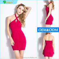 Wholesale fashion new style halter neck ladies inner rose red sexy mature party evening bandage dress 2017