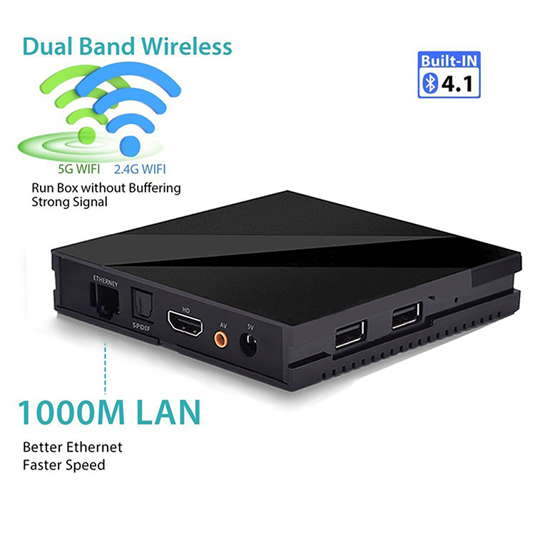 Wholesale Amlogic S912 tv box 2GB 16GB Android 7.1 4K HD Wasee tv box H96 pro