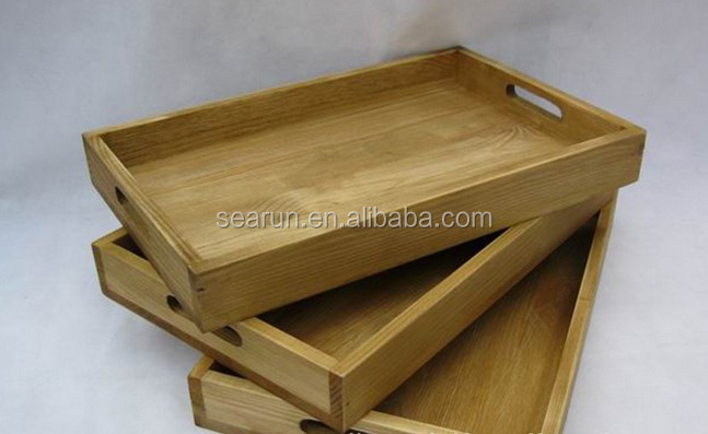 wooden antique serving tray with handles