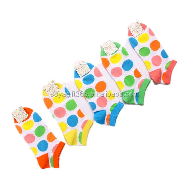 Women Colorful Dot Cotton Casual Ankle Socks