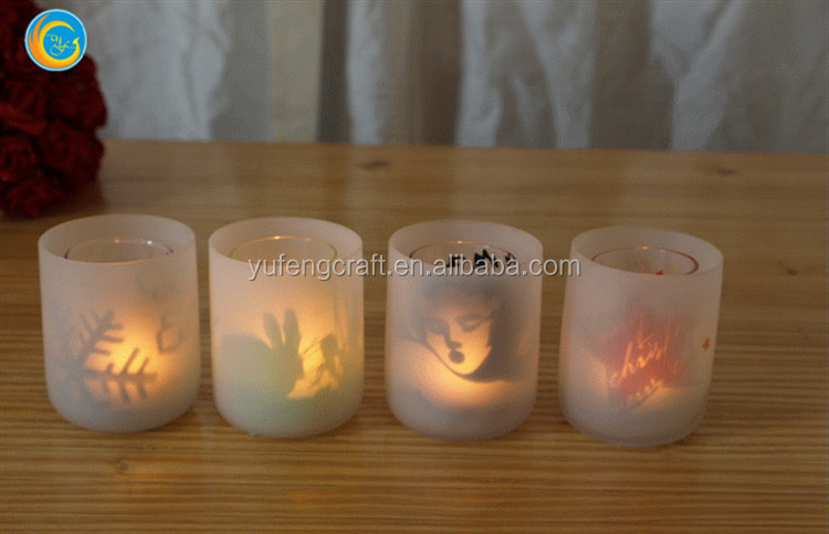 laser pictures of people face rabbit glass candle holder for wedding decors