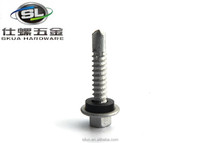 Low price hex cap screw SS304 hex washer head self drilling screw with EPDM