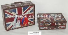 Union Jack Wooden Handy Box, Antique Suitcase For Storage and Decor