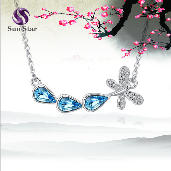 925 sterling silver CZ Microsco dragonfly necklace Austrian crystal necklace