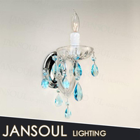 moroccan cheap decorative candle wall sconces with blue crystal chandelier for interior decoration