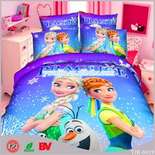 2016 New Design China Supplier High Quality 100% Polyester Cartoon Frozen Anna Elsa Hotel Bedding Set 3D