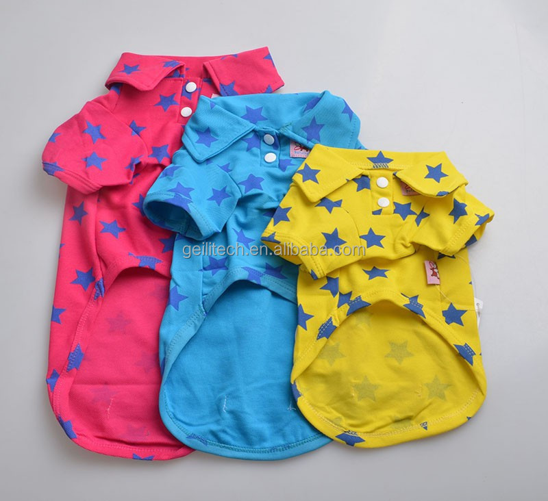 2017 HOT!! 3 Colors Pet Dog Summer Spring Polo 100% Cotton Star Summer T-shirt Dog Summer Clothes size XS S M L