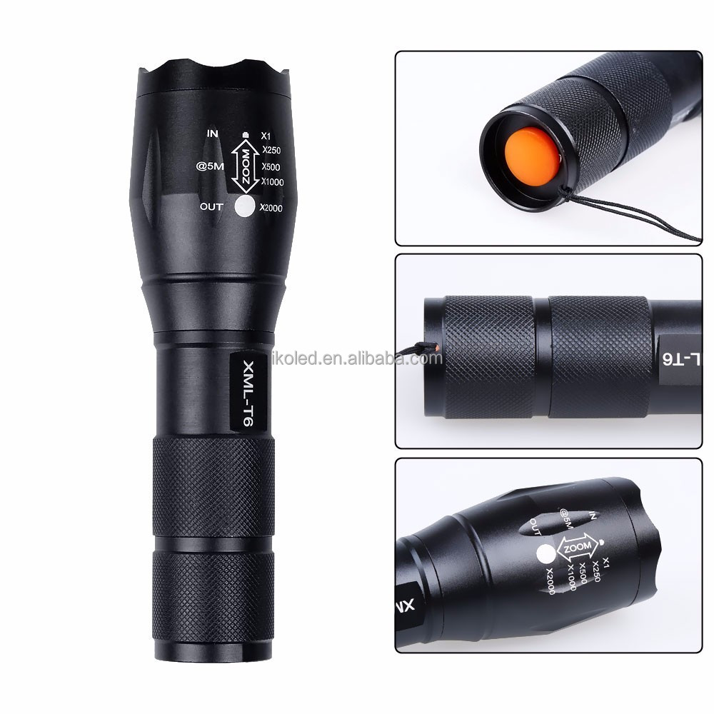 Hot SaleZoomable XML T6 LED 18650 Flashlight G700 High Power xml t6 10w led Metal Zoom free DHL