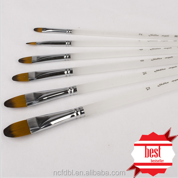 Acrylic Artist Paint Brush set with Synthetic Taklon Nylon Hairs and wood handle