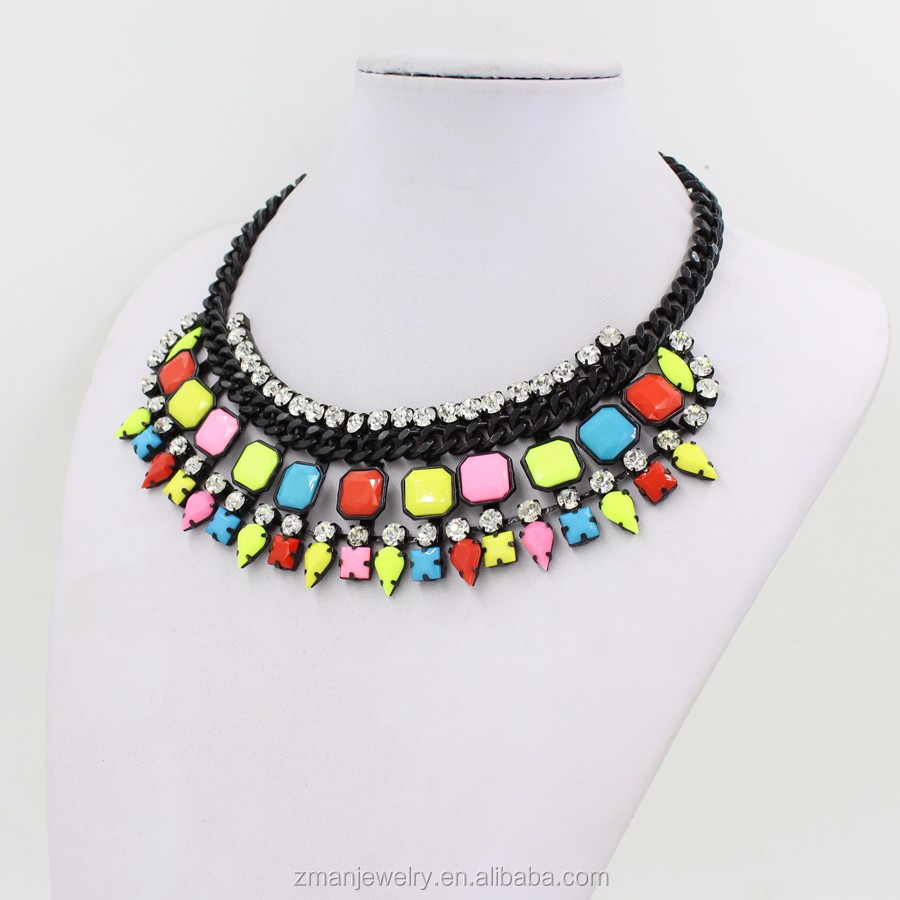 Factory Directly Wholesale Colorful Resin Necklace Resin Statement Necklace