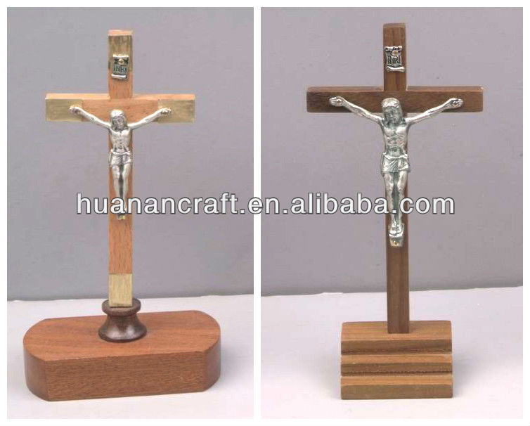 Latest luxury stand cross religious handmade wooden crucifix