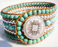 Boho Chic Beaded Bracelet Beaded Leather Cuff Bracelet with Mayan Mandella Button