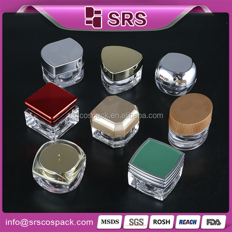 srs china mini plastic 5g 10g skin care sample packaging , acrylic cosmetic compact packaging , small cosmetic sample packaging
