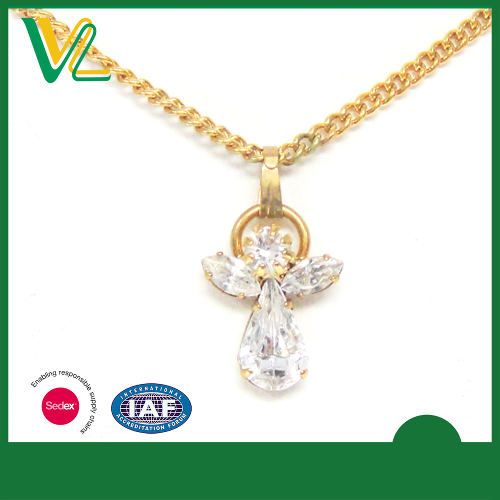 OEM New Die casting plating Angel Shape Souvenir Silver with crystal Necklaces for teenagers