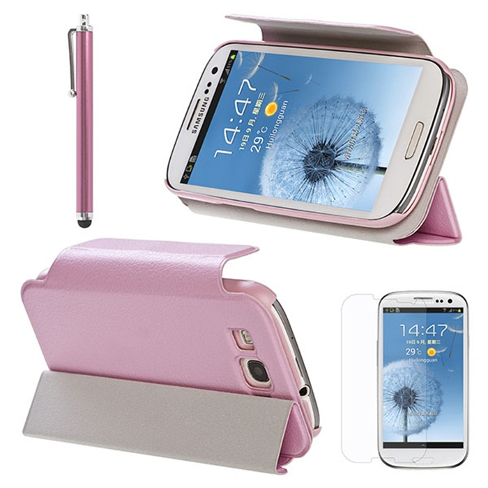 Pink PU Leather Wallet Case For Samsung I9300 S3