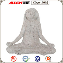 "6.8"" fiberglass yoga rabbit sculpture, faux granite rabbit statue, fiberstone yoga rabbit for garden decoration"