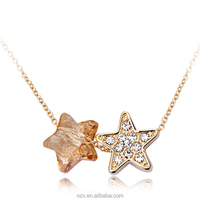 OUXI wholesale gift shinning Austria crystal rhodium plated star necklaces-10405