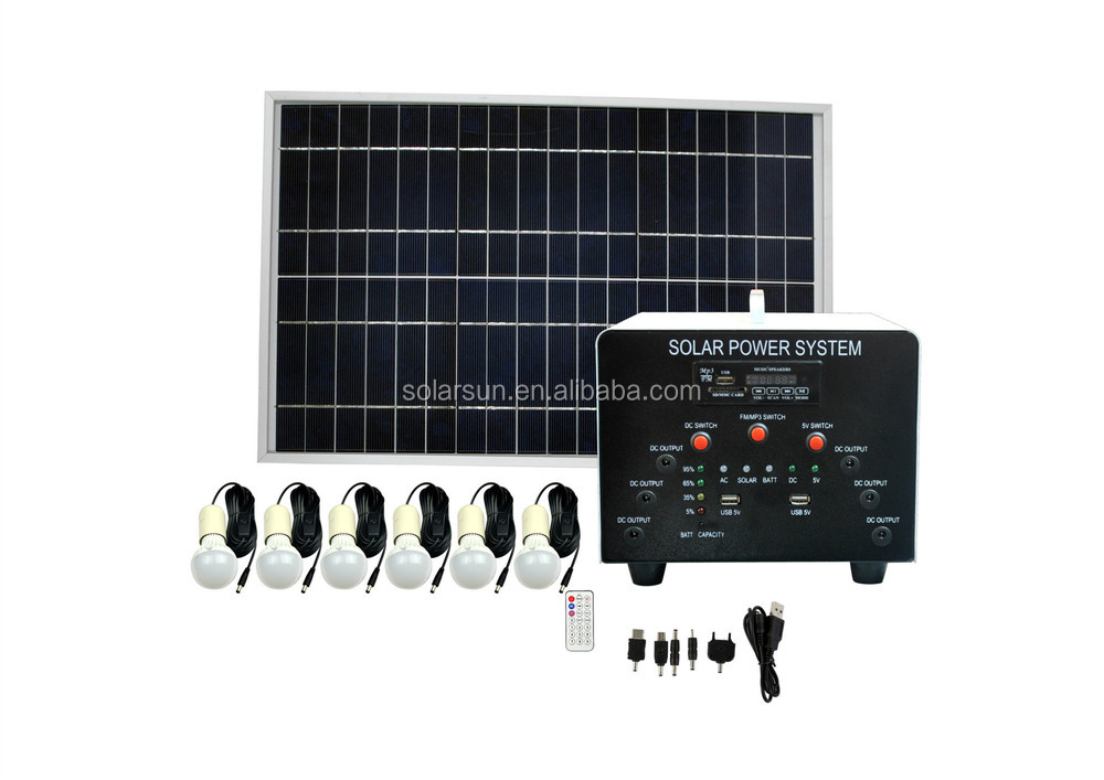 Portable 6W Solar Panel Power Home Outdoor Light System Kit 2 LED USB Charging