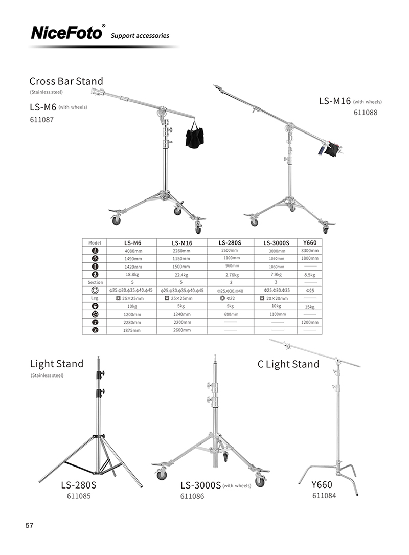 "40"" Stainless Steel Multi-function C Stand with Folding Legs"