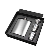 wholesale gift set 8oz stainless steel customized color painting hip flask