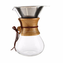 Pour Over Coffee Maker with Borosilicate Grass Carafe and Reusable Stainless Steel Filter with Real Wood Sleeve