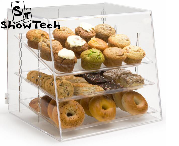 bakeshop clear acrylic bakery display for bread/ cookies/ donuts bakery display showcase ST-CFDB-3 E01