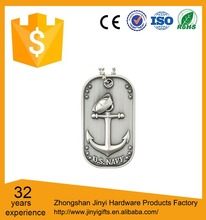 High Polished Zinc Alloy Necklace Silver Metal Blank Dog Tag