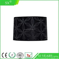 Modern black drum laser cut fabric shade living room metal base table light