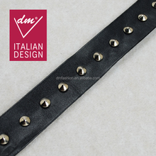 Fashion punk style pu leather beaded rivet lace trim