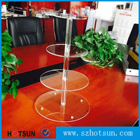 High Quality Customized 4 Tiers White Acrylic Round Circle Cake Display Shelf / Acrylic Cake Stand