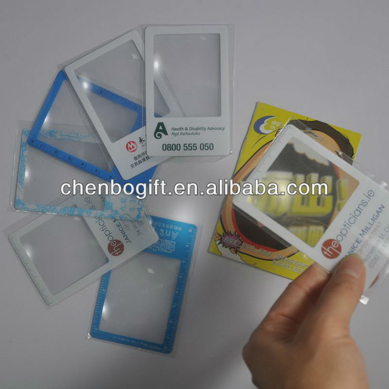 Business card magnifier with 3x magnification / pvc magnifier card / magnifying plastic card