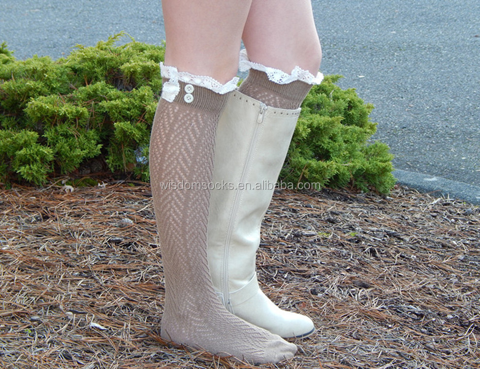 Knitted Crochet boot topper vintage Lace Trim button women boot Socks