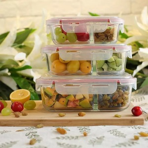 2 Compartment Microwave Glass Food Container Box
