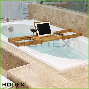 Natural Bamboo Shower Tray with Tablet Computer Holder/Homex_BSCI