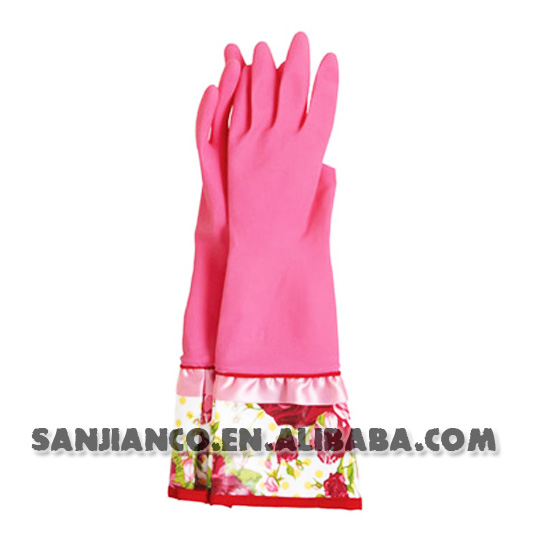 Flock lined household cleaning cleansing clean rubber latex garden gloves