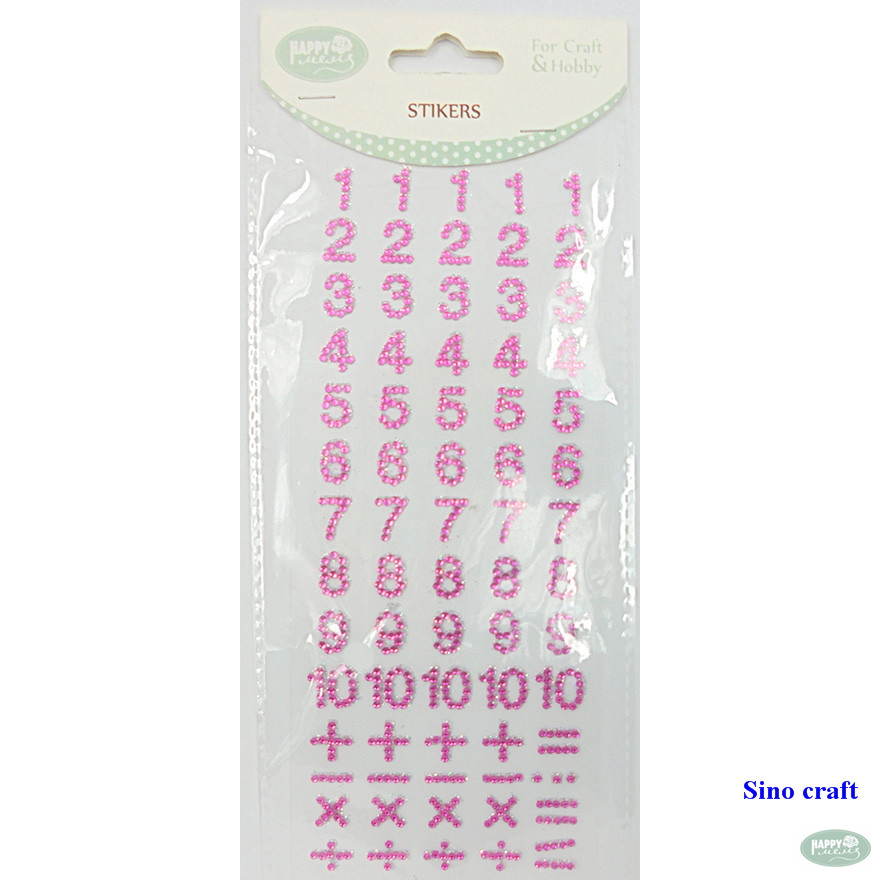 Numbers and alphabets self-adhesive DIY rhinestone sticker sheets acrylic sticker