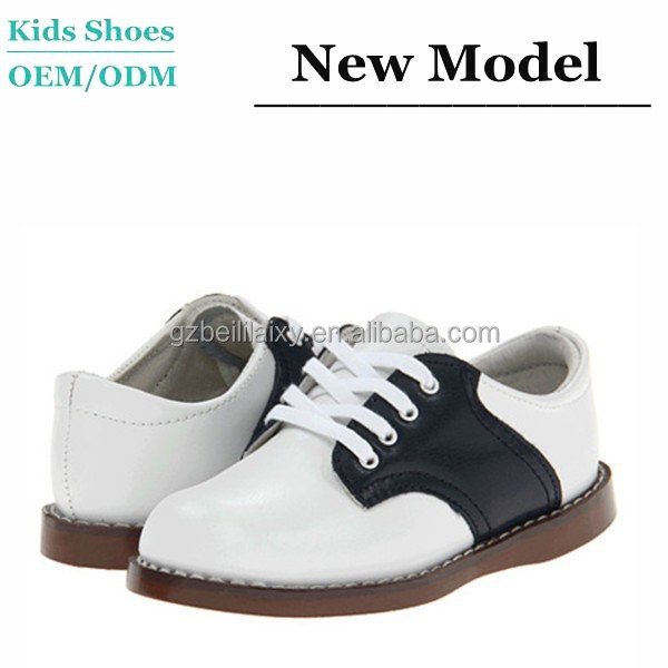 Fashion Style Genuine Leather Black and White Branded Formal Occasion Boy little Gentleman Casual Shoes