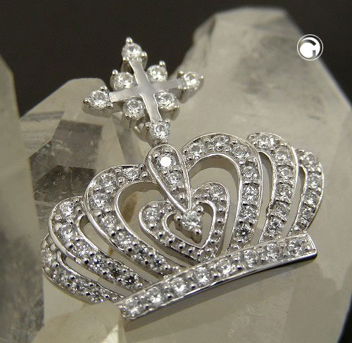 pendant, crown with zirconia , silver 925 - 3,5g - 92586